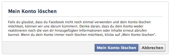 Mein Facebook Konto löschen